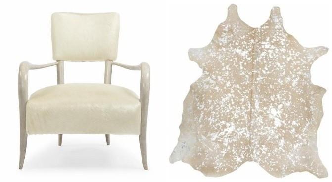 Elka Chair and Metallic Hide Rug