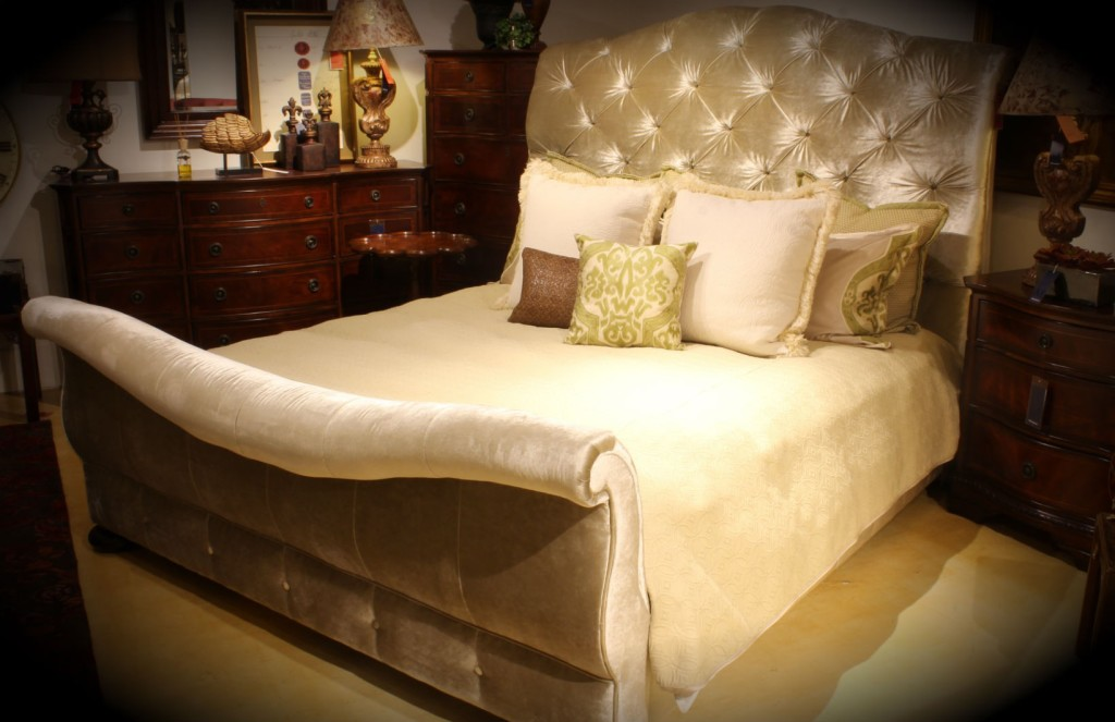 Steal of a Deal Bernhardt 348-H36 Kashmir King Size Upholstered Sleigh Bed