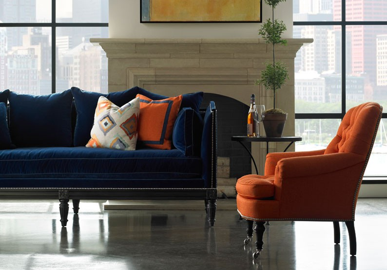 colourful living room with orange and blue